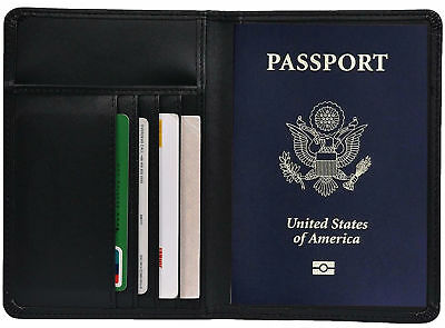 RFID Blocking PU Leather Passport Wallet Cover Card Holder Travel Case 7 Slot