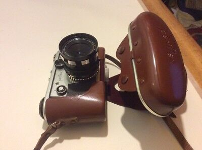 Corfield Periflex Gold Star camera, Lens And Case