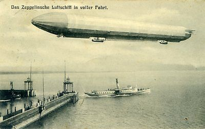 Zeppelin Airship - Old Postcard View
