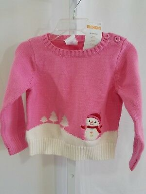 Gymboree NWT Toddler Girl Snowman Pink Knit Sweater Long Sleeve 18-24 Months