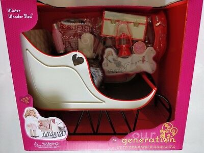 """NEW Our Generation WINTER  WONDER SLED Christmas Sleigh for 18"""" Doll"""