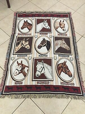 Jacquard Cotton Woven Horse Throw Blanket 65x45 Great Condition Goodwin Weavers