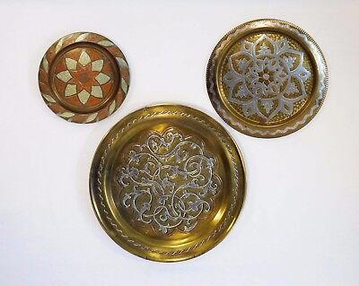 Moroccan Trio Vintage Brass/copper/pewter Hand-Crafted/hammered Charger/plaques