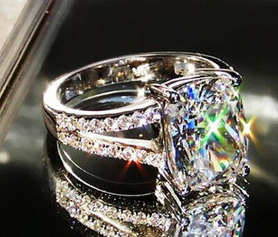 14k sona 3.85ct diamond ring engagement proposal bridal VVS1 lab nscd band luxur