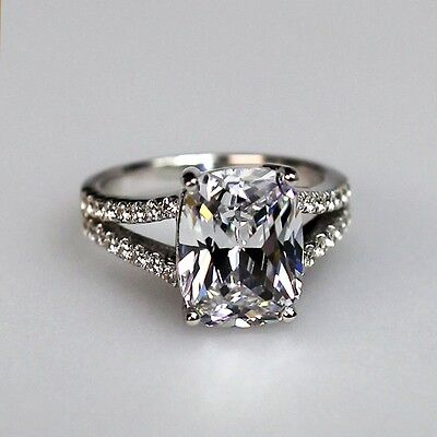 3.85 AUTH diamond ring engagement proposal wedding halo band SONA NSCD VVS1 HUGE