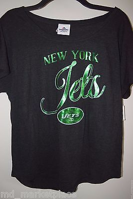NWT NFL New York NY JETS Womens Neon Green Gray Soft Jersey Shirt Top M NEW