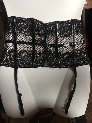 NWT Victoria's Secret Very Sexy Black Lace & Lilac Garter Belt Small Lingerie