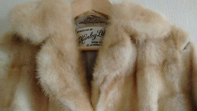 Ladies Vintage Real Mink Fur Coat - Golden Brown / Blond - Size Small / 8-10