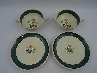 2 Susie Cooper Soup Bowls Coupes With Saucers Meadow Sweet