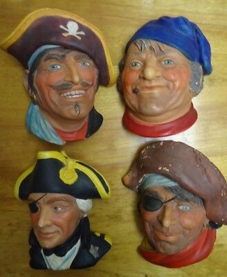 Vintage Lot of 4 Bossons Hand Painted Heads Chalkware Wall Hangings Plaque AS IS