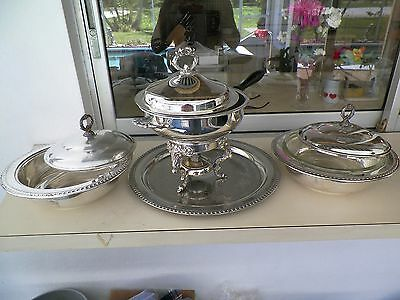 Large English Silver/leonard Fondue Set With Xtras