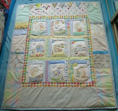 New Peter Rabbit and friends personalised hand crafted cot or bed QUILT blanket