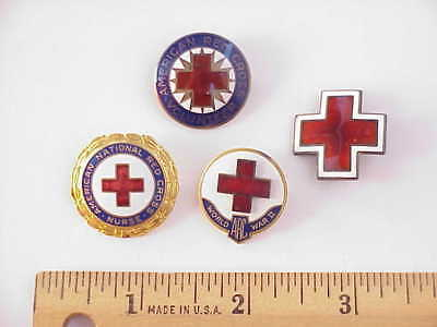 #3 WWII Era Red Cross Pin Lot of 4 Numbered Sterling Hallmarked Beautiful Enamel