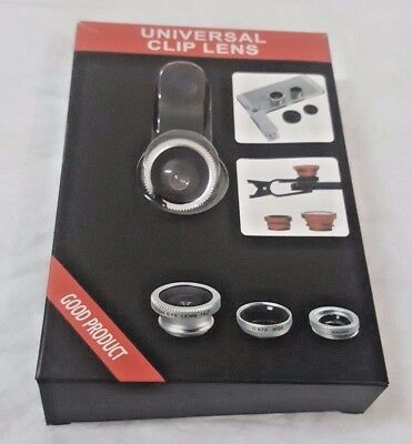 Silver 3 in 1 Fish Eye Macro Wide Angle Clip on Lens Camera Set for Mobile Phone