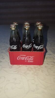 Vintage Miniature Coca Cola Collectable Crate of 6 Glass Bottles