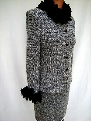 ST. JOHN Collection Marie Gray Black & White Wool Blend Boucle Knit Skirt Suit 2