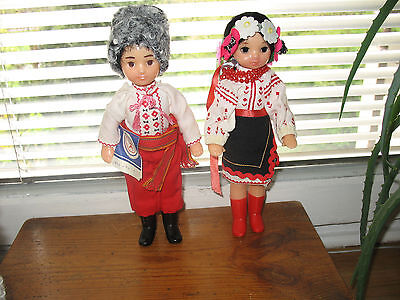 New Vintage 1981 Russian Doll Set Boy And Girl In Traditional Outfit CCCP Soviet