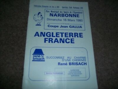Rare France V England Great Britain Rugby League Test Match 16Th March 1980