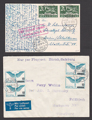Switzerland. Airmail / Flugpost Postcard and Cover.