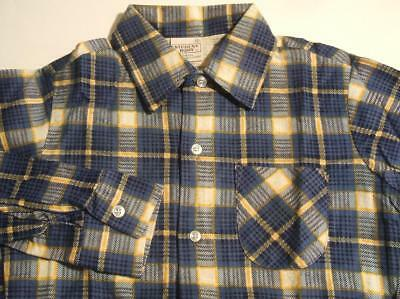 NEW DEADSTOCK NOS VTG 60s PLAID COTTON FLANNEL SHIRT - YOUTH BOYS Sz 12 LARGE