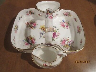 "HAMMERSLEY STRAWBERRY BASKET with SUGAR/CREAMER; FLORAL ""MINUET"" PATTERN"