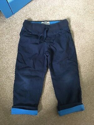 M&S Boys Fully Lined Navy Cotton Trousers Age 2-3