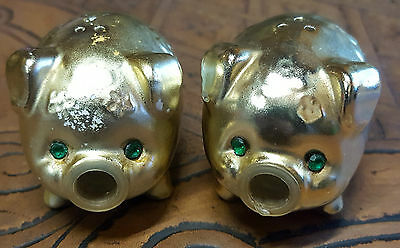 """Vintage Rare """"gold Pigs"""" Salt & Pepper Set, Part Of 60 Years Collections"""