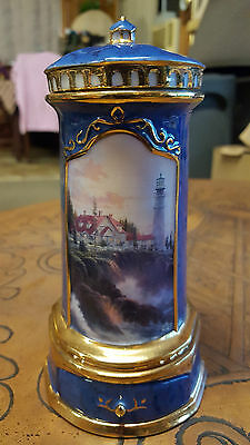 "Thomas Kinkade's ""blue Lighthouse"" Heirloom Porcelain Music Box 2000 Collections"