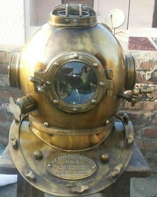Antique Brass Scuba Solid Sca Divers Helmet Mark V Royal Navy Marine Boston Gift