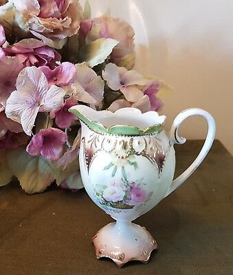 R.s. Prussia Antique Pedestal Hand Painted Ornate Roses Pedestal Cream Pitcher