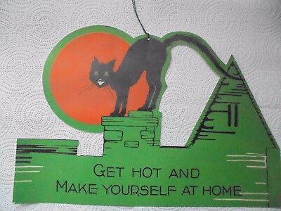 Vintage Halloween Cat On Roof Die Cut Decoration-Looks 1930's-Matt Finish