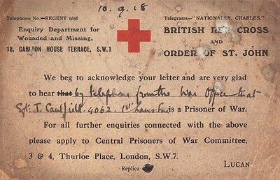 World War I Red Cross Prisoner of War Card Missing Soldiers The Great War