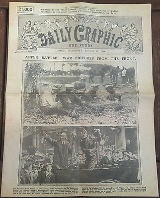 Daily Graphic Newspaper 12th August 1914 World War I 1914-1918 The Great War