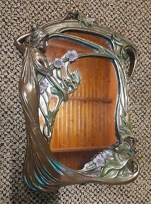 VINTAGE ART NOUVEAU COPPER LOOK VANITY DRESSING TABLE MIRROR 32cmx24cm
