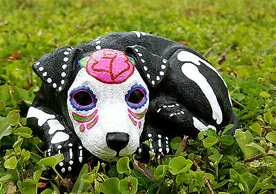 Sugar Skull Terrier, Day of the Dead Pit Bull Statue, Jack Russell, Toy Terrier