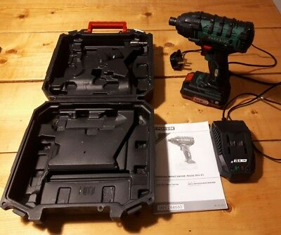 PARKSIDE CORDLESS 20v HIGH POWER IMPACT DRIVER 180Nm kit battery, charger & case