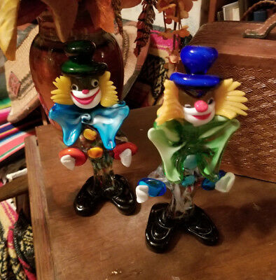 Pair Of Vintage Murano Clown Figures  Italy Art Glass