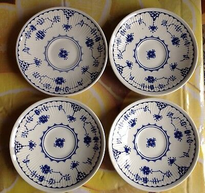 4 * Blue Denmark Saucers 5 1/2in diameter By Masons