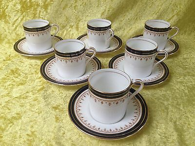 Aynsley 1646 LEIGHTON Coffee Can & Saucer x 6