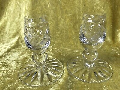Lead Crystal Cut Glass Candlestick Pair