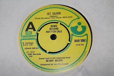 "Be Bop Deluxe ‎– Jet Silver  UK 7"" DEMO MINT LOOKS UNPLAYED"