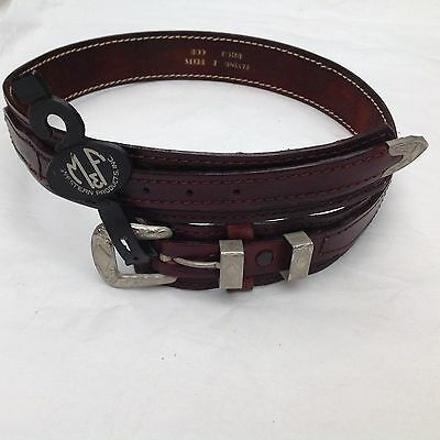 Western American Leather Belt Vintage Embossed Saddle Leather Buckle Set