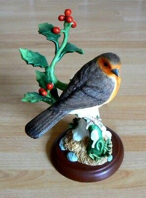 Border Fine Arts A6055  Bird Figurine - ROBIN on Holly