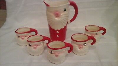 Vintage Holt Howard winking santa Christmas pitcher and mugs Japan