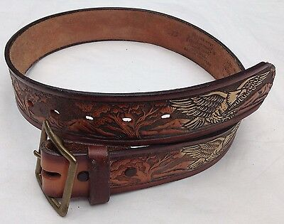 Western American Leather Belt Vintage Embossed Saddle Leather Eagle
