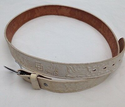 Western American Leather Belt Vintage Embossed Saddle Leather Square Dancing