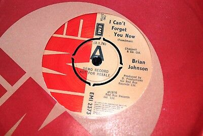 "Brian Johnson Ac/dc I Can't Forget You Now Uk 7"" Demo Mint Looks Unplayed"