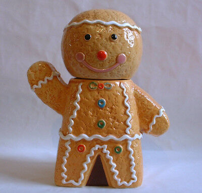 Vintage style pottery Christmas GINGERBREAD MAN COOKIE JAR santa decoration tree