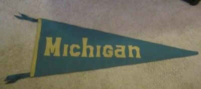 "Vintage / Antique  Michigan Wool Felt Green / Gold  Pennant 32 1/2""  W / Label"