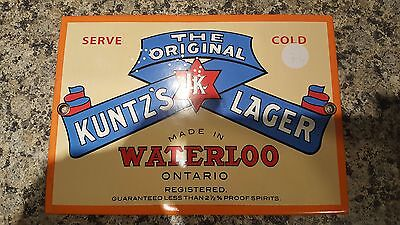 Kuntz's Lager The Original Porcelain Sign In Excellent Condition